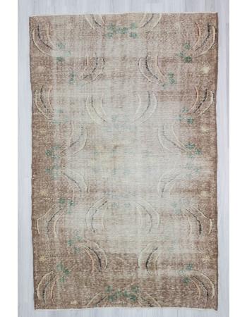 Vintage distressed decorative Turkish art deco rug