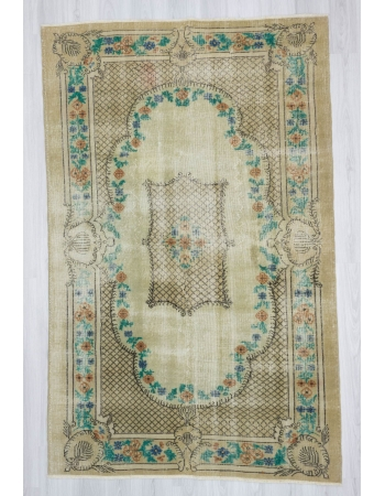 Vintage hand knotted decorative Turkish area rug