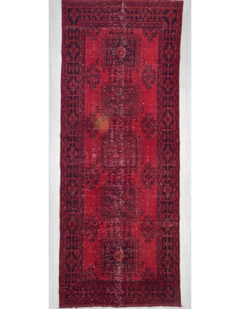 Hand knotted vintage over-dyed red Turkish runner rug
