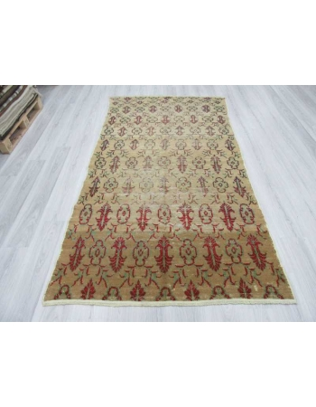Hand knotted vintage decorative worn out Turkish area rug