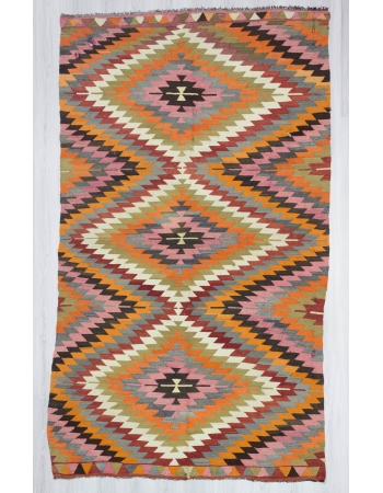 Handwoven vintage colourful Turkish kilim rug