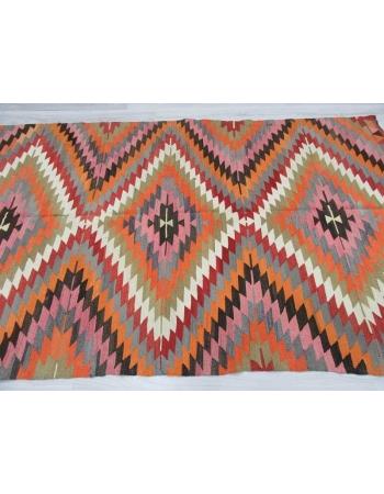 Handwoven vintage colourful Turkish kilim rug