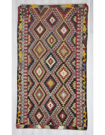 Handwoven vintage decorative colourful Turkish kilim rug