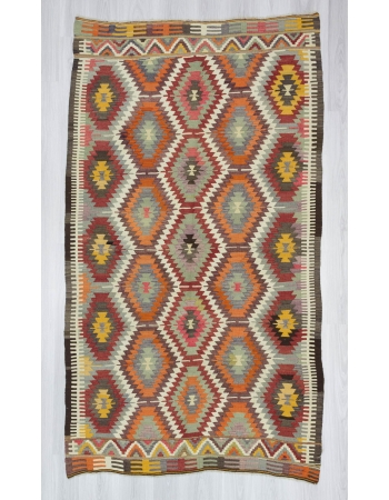 Handwoven vintage decorative modern Turkish kilim area rug