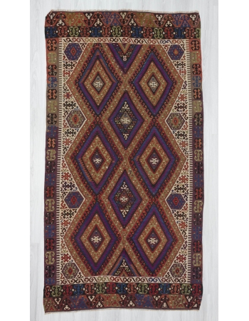 Handwoven vintage decorative Turkish kilim area rug