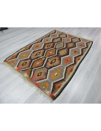 Handwoven vintage decorative colourful Turkish kilim area rug
