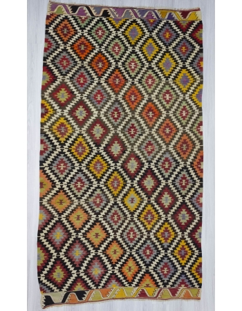 Handwoven vintage decorative colourful Turkish kilim area rug