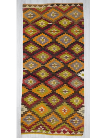 Handwoven vintage colourful Turkish kilim area rug