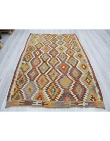 Handwoven vintage decorative colourful Turkish kilim rug
