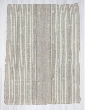 Handwoven vintage modern white striped Turkish kilim rug
