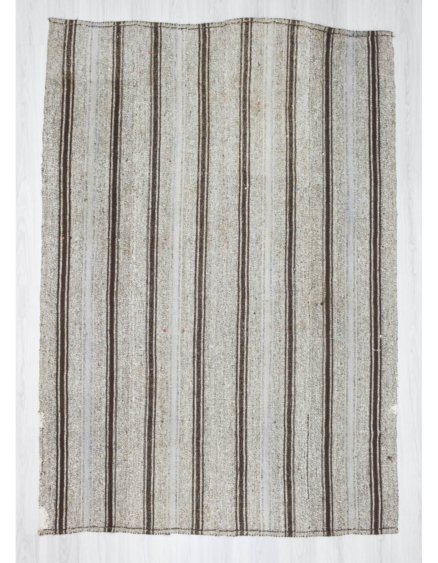 Handwoven Vintage Modern Striped Turkish Kilim Area Rug