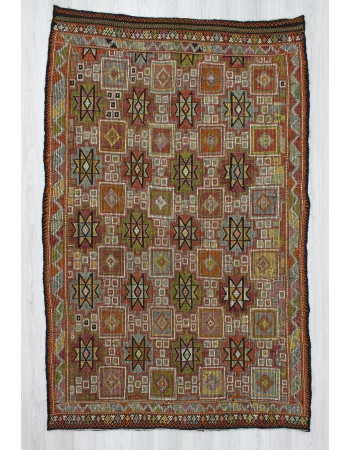 Handwoven vintage embroidered decorative Turkish kilim rug