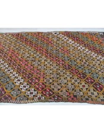 Handwoven vintage decorative embroidered Turkish kilim rug