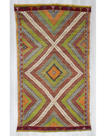 Handwoven vintage colourful decorative embroidered Turkish kilim rug