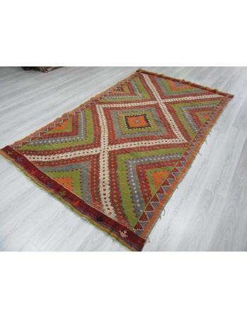 Handwoven vintage colourful decorative embroidered Turkish kilim rug