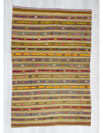 Handwoven vintage colourful striped Turkish kilim rug