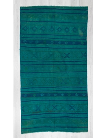 Handwoven vintage blue over dyed embroidered Turkish kilim rug