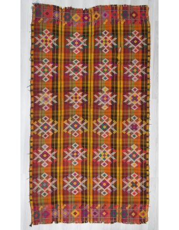 Handwoven vintage decorative colourful embroidered Turkish kilim rug