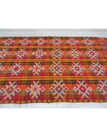 Handwoven vintage decorative colourful embroidered Turkish kilim rug