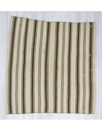 Handwoven vintage square decorative modern brown and white striped naturel Turkish kilim rug