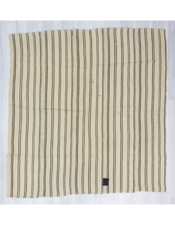 Handwoven vintage square striped Turkish kilim rug