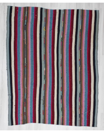 Handwoven vintage decorative striped colourful Turkish kilim rug