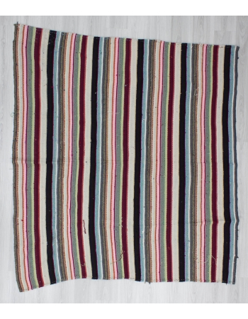 Handwoven vintage colourful striped decorative Turkish kilim rug