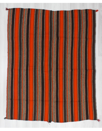 Handwoven vintage orange striped Turkish kilim rug