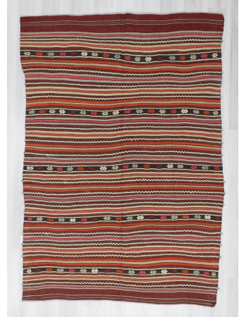 Handwoven vintage striped embroidered Turkish kilim rug