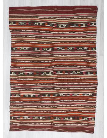 Handwoven vintage striped embroidered Turkish kilim rug