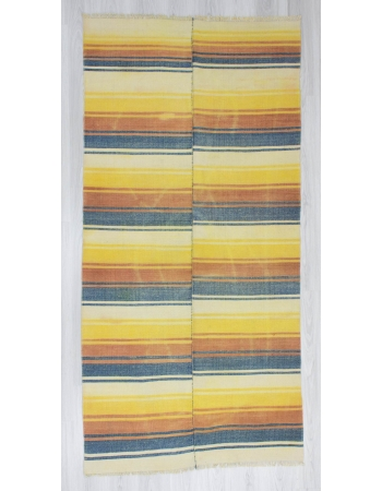 Handwoven vintage decorative modern striped Turkish kilim rug