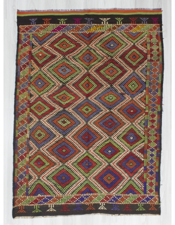Handwoven vintage decorative embroidered Turkish kilim rug