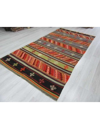 Handwoven vintage decorative embroidered colorful Turkish kilim rug