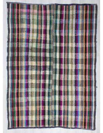 Handwoven vintage decorative colourful Turkish rag rug