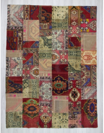 Oversize vintage decorative colourful patchwork rug
