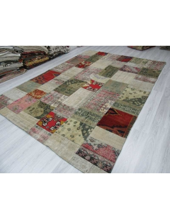 Oversize vintage decorative Turkish patchwork rug