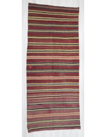 Handwoven vintage decorative striped Turkish kilim rug