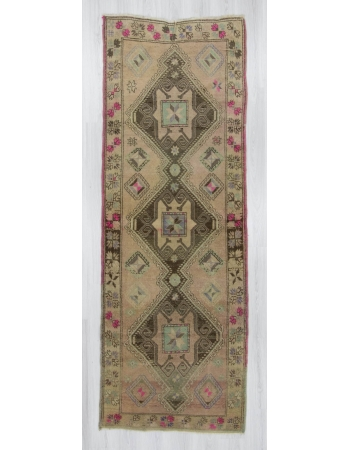 Handknotted vintage decorative Turkish runner rug