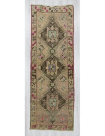 Handknotted vintage decorative Turkish runner rug