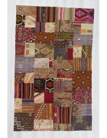 Handmade decorative colorful Turkish kilim patchwork rug