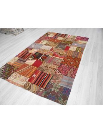Handmade decorative colorful Turkish kilim patchwork rug