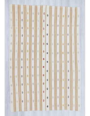 Handwoven vintage embroidered striped modern and decorative Turkish kilim rug