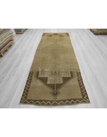 Handknotted vintage decorative washed out Turkish runner rug