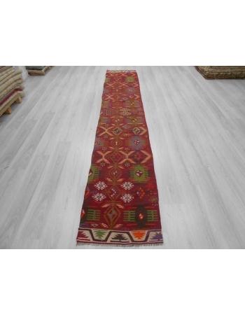 Handwoven vintage decorative narrow Turkish kilim runner rug