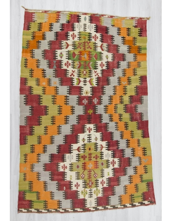 Handwoven vintage decorative colorful large modern Turkish kilim rug