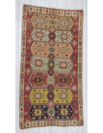 Handwoven vintage decorative one of a kind large Turkish kilim rug