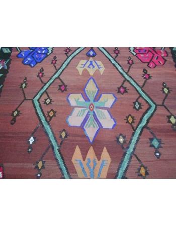 Handwoven vintage decorative oversize Turkish kilim rug