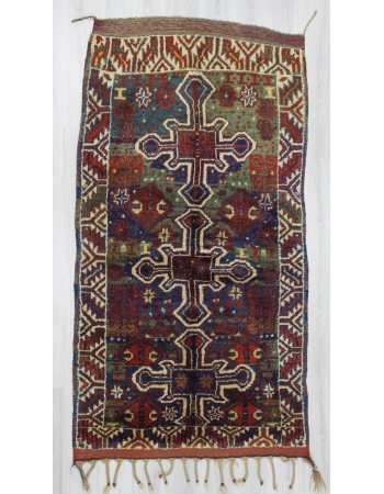 Handknotted antique colorful naturel dyed Turkish rug