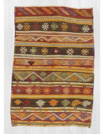 Handwoven vintage embroidered small Turkish kilim rug