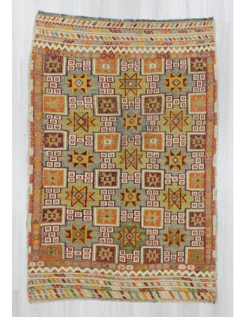 Handwoven vintage decorative star designed embroidered Turkish kilim rug